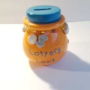 Lottery Money Bank Pottery Jar With Lid
